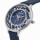 Montre femme, boîte acier, bracelet cuir bleu et verre minéral - B