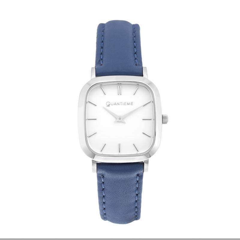 Achat Montre femme, boite acier,bracelet cuir bleu et verre