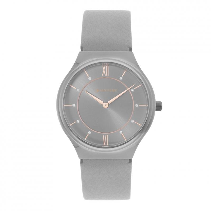 Achat Montre femme, boîte acier gris, bracelet cuir et verre