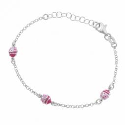 Bracelet en argent rhodié et laque rose,  coccinelles
