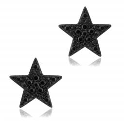 Boucles d'oreilles en argent rhodié noir, oxydes de zirconiumnoirs