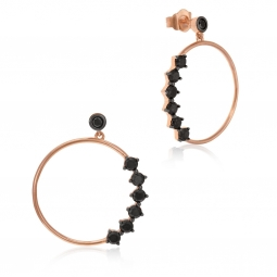 Boucles d'oreilles en argent doré rose et rhodié noir, oxydes de zirconium noirs
