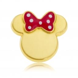 Pendentif en or jaune et laque rouge et noeud à pois blanc , Minnie Disney