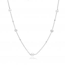 Collier en argent rhodié, oxydes de zirconium et perles synthétiques