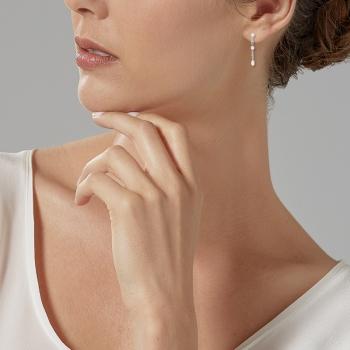 Boucles d'oreilles en argent rhodié, oxyde de zirconium et perle synthétique