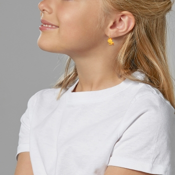 Boucles d'oreilles dormeuses, en or jaune et laque rouge