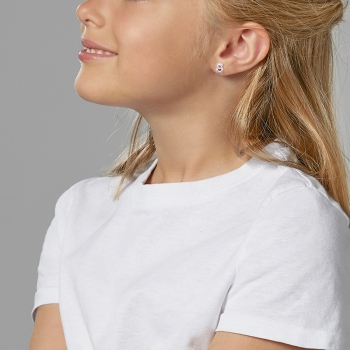 Boucles d'oreilles en argent rhodié et laque, ourson