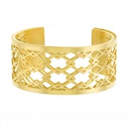 Bracelet jonc Méli Versa en acier doré, 30mm