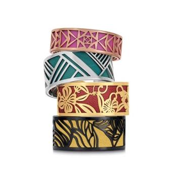 Simili cuir noir-argenté pour bracelet jonc Méli Versa 30mm