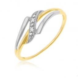 Bague en jaune rhodié  et diamants