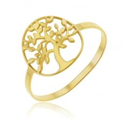 Bague en or jaune, arbre de vie
