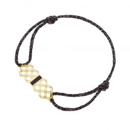 Bracelet or jaune, cordon et laque noire