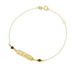Bracelet en or jaune et oeil de tigre