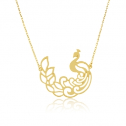 Collier or jaune, paon