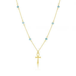 Collier en or jaune et turquoises, croix