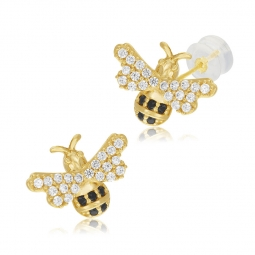 Boucles d'oreilles en or jaune, oxydes de zirconium blancs et noirs, abeille