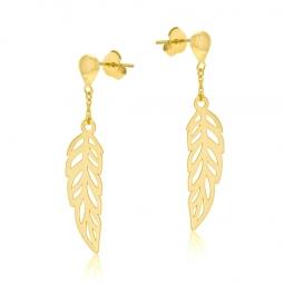Boucles d'oreilles or jaune, motif plume