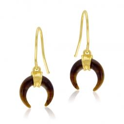Boucles d'oreilles en or jaune, oeil de tigre