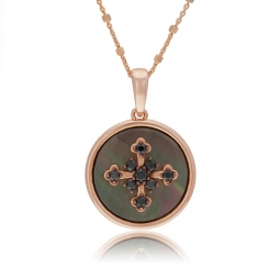 Collier en bronze plaqué or rose, nacre grise et spinelle