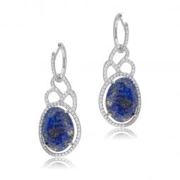 Boucles d'oreilles en argent rhodié, lapis lazuli et oxydes de zirconium
