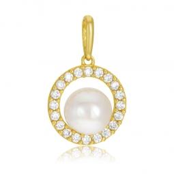 Pendentif en or jaune, perle de culture et oxydes de zirconium