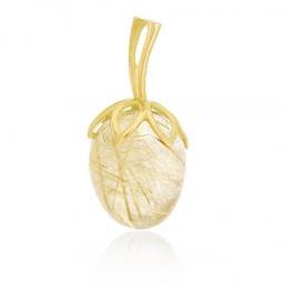 Pendentif en or jaune et quartz rutile