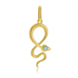 Pendentif en or jaune et cristal de synthèse bleu