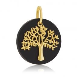 Pendentif en or jaune et bois d'ébène, arbre de vie