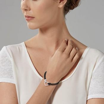 Bracelet en acier, cordon polyester noir et oxyde de zirconium, coeur ouvrant