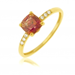 Bague en or jaune sertie de Swarovski Zirconia orange-jaune et blancs