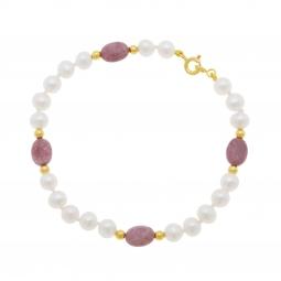 Bracelet or jaune, perles de culture et rhodonites