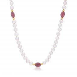Collier en or jaune, perles de culture et rhodonites