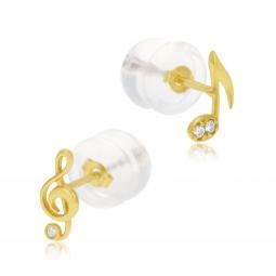Boucles d'oreilles en or jaune et oxydes de zirconium, note musique et clef