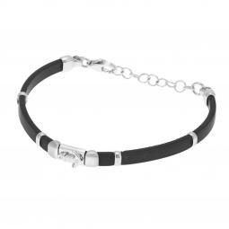Bracelet en argent rhodié et silicone, ancre marine , junior