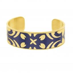 Bracelet jonc en acier doré et laque bleue