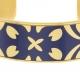 Bracelet jonc en acier doré et laque bleue - B