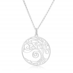 Collier en argent rhodié, arbre de vie