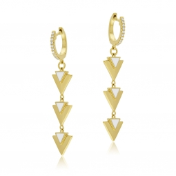 Boucles d'oreilles en plaqué or et laque blanche