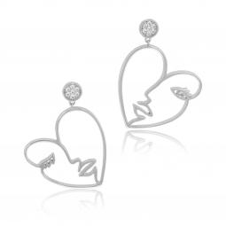 Boucles d'oreilles en argent rhodié et oxydes de zirconium, visage