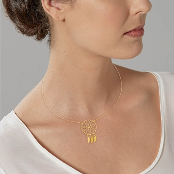 Collier en or jaune, attrape-rêves