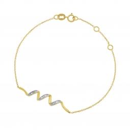 Bracelet en or jaune rhodié et diamants