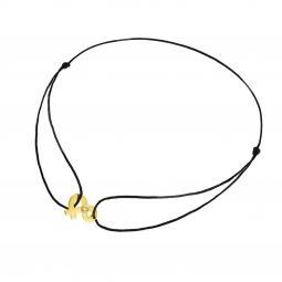 Bracelet en or jaune, diamant et cordon