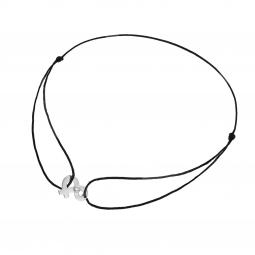 Bracelet en or gris, diamant et cordon