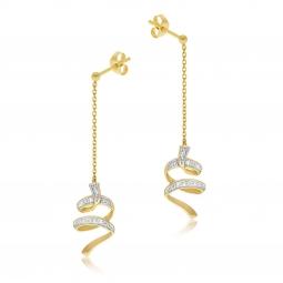 Boucles d'oreilles en or jaune rhodié et diamants