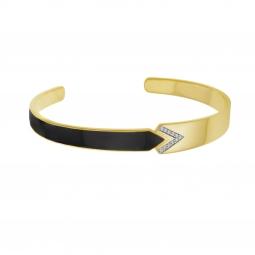 Bracelet jonc en plaqué or, laque noire et oxydes de zirconium