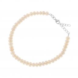 Bracelet en  argent rhodié et perles de culture