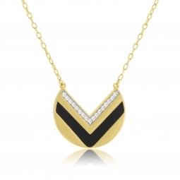 Collier en plaqué or, laque noire et oxydes de zirconium
