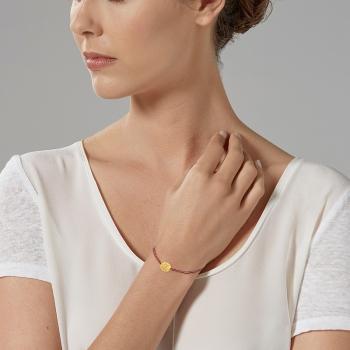 Bracelet cordon en or jaune,  Be happy