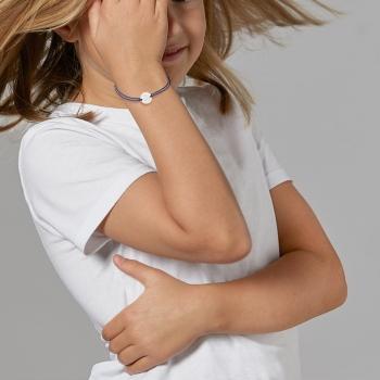 Bracelet cordon bleu en argent rhodié, ancre marin