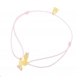 Bracelet cordon rose en or jaune et laque, Daisy Disney